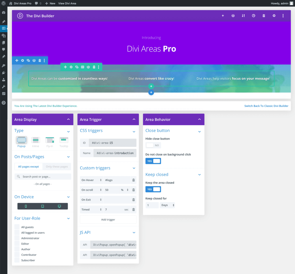 Screenshot of the Divi Areas Pro editor